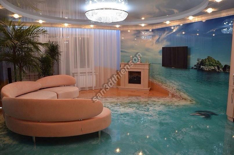 """Hay một phòng khách """"đại dương"""" độc đáo"""