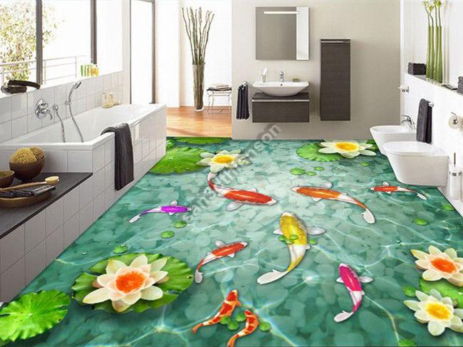 Sàn 3d hoa sen cá chép